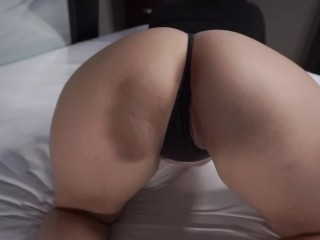 Horny Teen with Big Ass gets her first Anal Creampie and has Orgasm