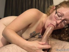 Natural Red Head Ivy Sucks Hubby off until his cock pulsates in her mouth
