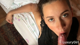 And swallow suck luxurygirl cum cock morning blowjob in