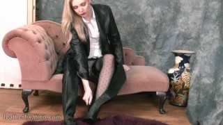 Busty babes tease in tight leather bra jacket boots skirt for kinky fetish Tits doggystyle