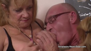 Nervous amateurs threesome first younger old mature