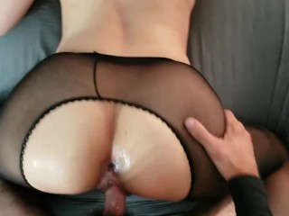Horny Amateur Gets Fucked Doggy and Creampied In Tights POV