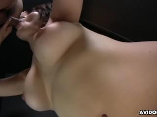 Big breasted Japanese babe Saki Otsuka gives head in POV