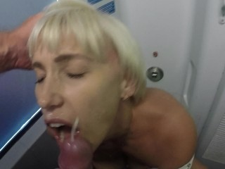 Bathroom threesome sex blowjob on the train. Cum on face., cum cumshot masturbate hd train toilet