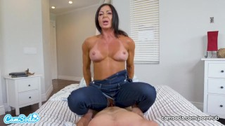 Mom rides stepson and begs for creampie Cosplay fuck