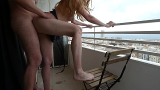 He cum inside me - balcony quickie creampie in Alicante