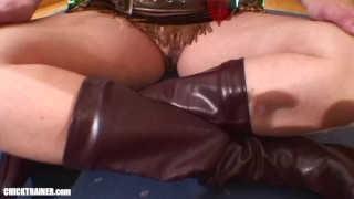 BIG Natural Tits! Cowgirl Britney drinking cum in high heeled leather boots