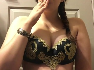 Hot Warrior Goddess Teen Smoking - Big Tits - Braided Hair - Gold Lip Gloss