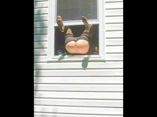 HORNY dildo orgasm squirting out of window while neighbors are outside!