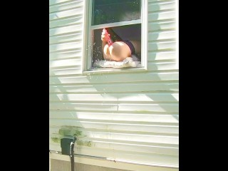 Preview 4 of HORNY dildo orgasm squirting out of window while neighbors are outside!