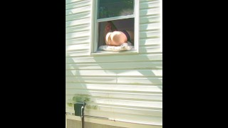 HORNY dildo orgasm squirting out of window while neighbors are outside!  outdoor sex voyeur masturbation horny milf wet pussy big dildo wife public milf porn horny wife stockings spy pussy squirting voyuer dripping wet pussy dildoing