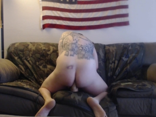Toying my ass on the couch