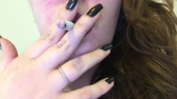 Chubby Goth Brunette Teen Close Up Smoking - Dark Red Lipstick Black Nails
