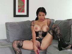 Hot Colombian Mila in sexy lingerie/stockings playing with her pussy n toys