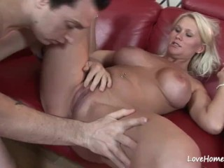 Sexy blonde chick riding his hard pecker