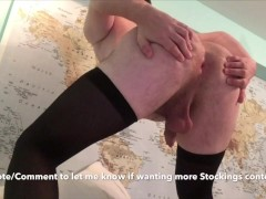 Black Stockings & a Bubble Butt! Asshole Winking, Nice Legs, Big Ass!