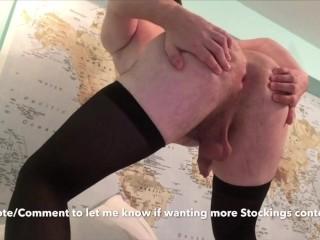 Black Stockings & a Bubble Butt! Asshole Winking, Nice Legs, Big Ass!