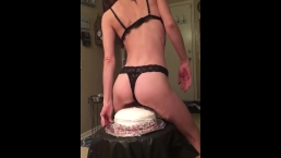Petite Brunette Sits on Cake First Time WAM
