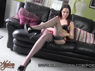 Brunette Tiff Naylor teases in panties bra seamed fully fashioned nylons