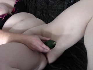 British Wife Cumming Hard on A Cucumber Filmed by Bull, Photos by Hubby.
