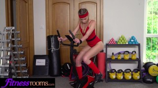 Fitness Rooms French blonde Angel Emily face fucked by personal trainer