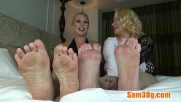 Two sexy Blondes foot worshiping video playing jerk off instruction games