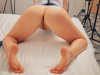 Redhead Stewardess Hairy Pussy Doggystyle Creampie between Flights at Hotel
