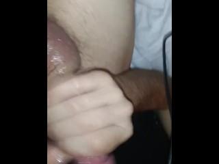 Sexy gay dude strokes monster cock