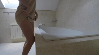 Young girl with big ass rides on dildo in hotel bathroom - Mini Diva Shameless english