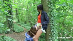 Abby and Caroline Lesbian Encounter in the Woods - Ersties