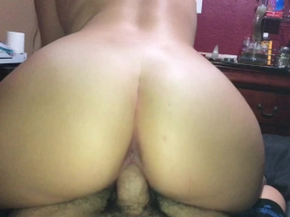 Thick blonde babe riding daddy in reverse cowgirl and making him cum hard