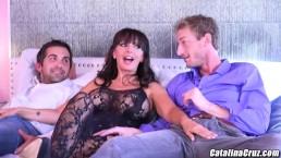 Ms Catalina Cruz enjoys her first 2 guy threeway in Vegas