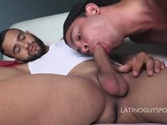 Latin papi AK and Vlad deepthroat and bareback action very hot!