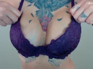 Bra Fetish JOI Game - Stroke when Big Tits Bounce - Tattooed Boobs