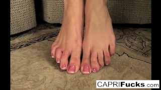 Not wet but pussy sexy plays with her her capri only feet also pussy pornstar