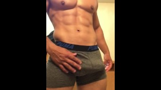 Sexy stud jerking off until he drains his balls Squirt brunette