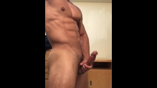 Sexy stud jerking off until he drains his balls
