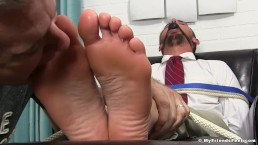 Good looking stud tied up and gagged while toe sucked