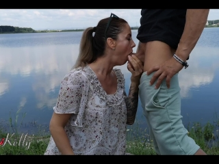 nympho girl fucks a tinder date right in the public place by the lake