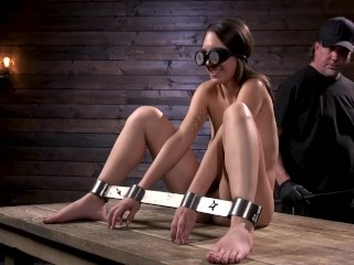 Erotic fantasy newcomer jade nile is bound and tormented in device bondage, kink bdsm brunette toys