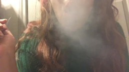 Sexy Chubby Teen with Hot Big Tits in Sweater Smoking Cork Tip Cigarette