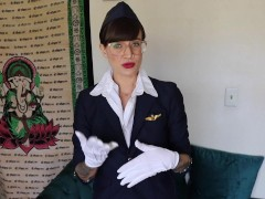 Flight Attendant Role Play Mile High Blowjob with Facial Cumshot