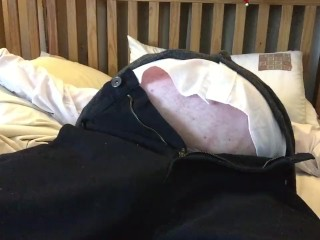 human balloon bed clip in a suit