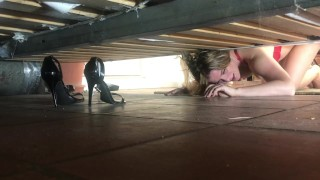 Screen Capture of Video Titled: Stepmom stuck under the bed gets creampie from stepson - Erin Electra
