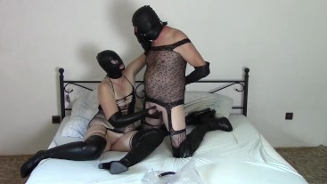 Couple in leather opera gloves (Part 3: Gloves milking)
