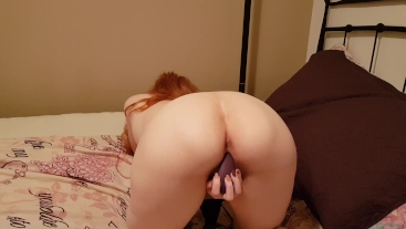 Horny ginger with puffy tits cums hard with a vibrator