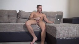 Superior muscular jock Archy Rock cums hard stroking his huge cock at home