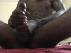 Home Alone Stroking my BBC with oil + cumshot