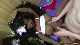 Ebony big tits and white cock