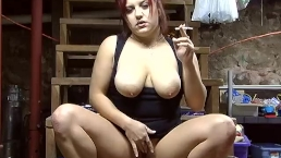 Red Head Smoking on Basement Stairs - ALHANA WINTER - Vintage Firsts For Me